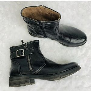 Natural Soul Black Leather Ankle Booties Boots 6.5